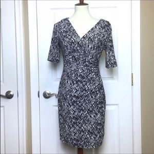 RALPH LAUREN V-Neck Ruched Sheath Dress 6 Petite